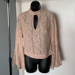 NWT Bebe pink/peach lace flare arm cutout blouse